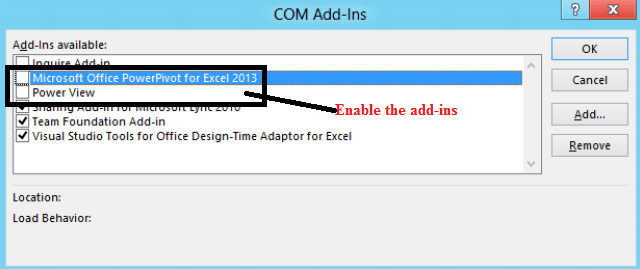 Power Pivot and Power View now available in Excel 2013.